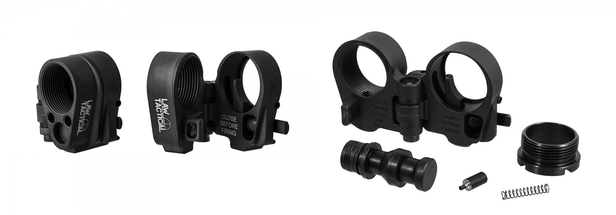 The AR Folding Stock Adapter Gen 3-M, an AR compatible folding stock adapter from Law Tactical