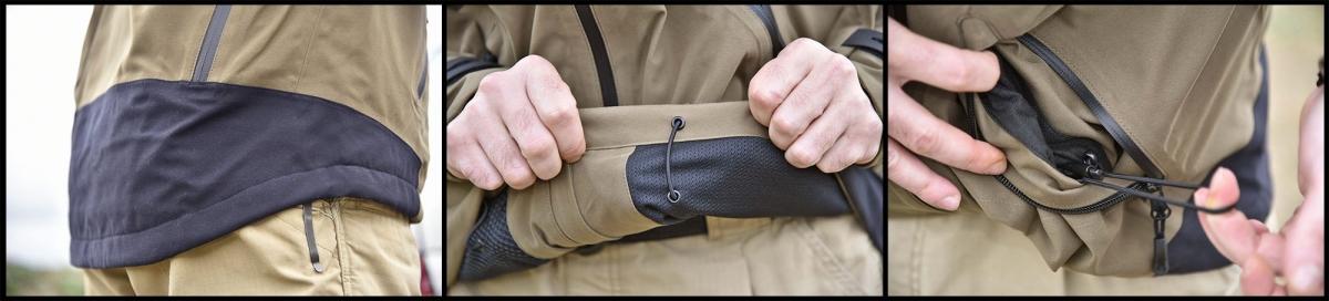 Dettagli del rinforzo posteriore della giacca e dei laccetti di regolazione della vita, accessibili all'interno delle due tasche laterali