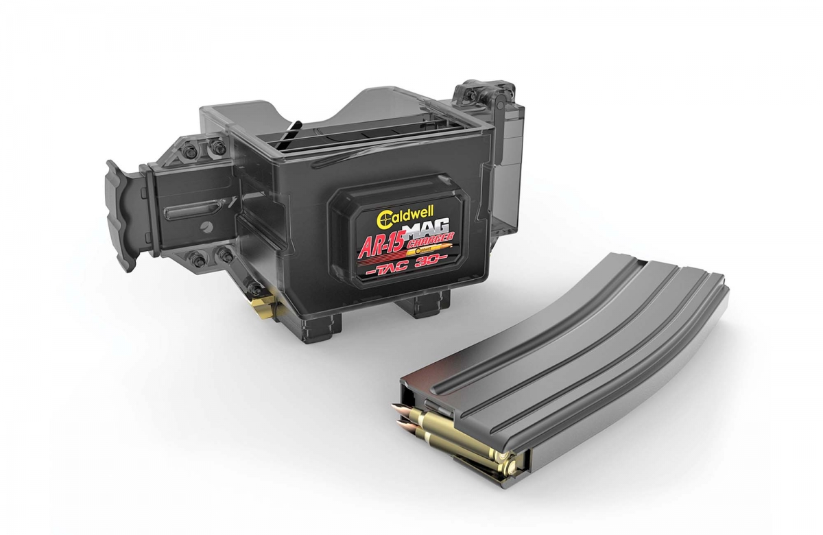 The TAC-30 Mag Charger will fully load a 20-rounds or 30-rounds AR-compatible magazine in seconds