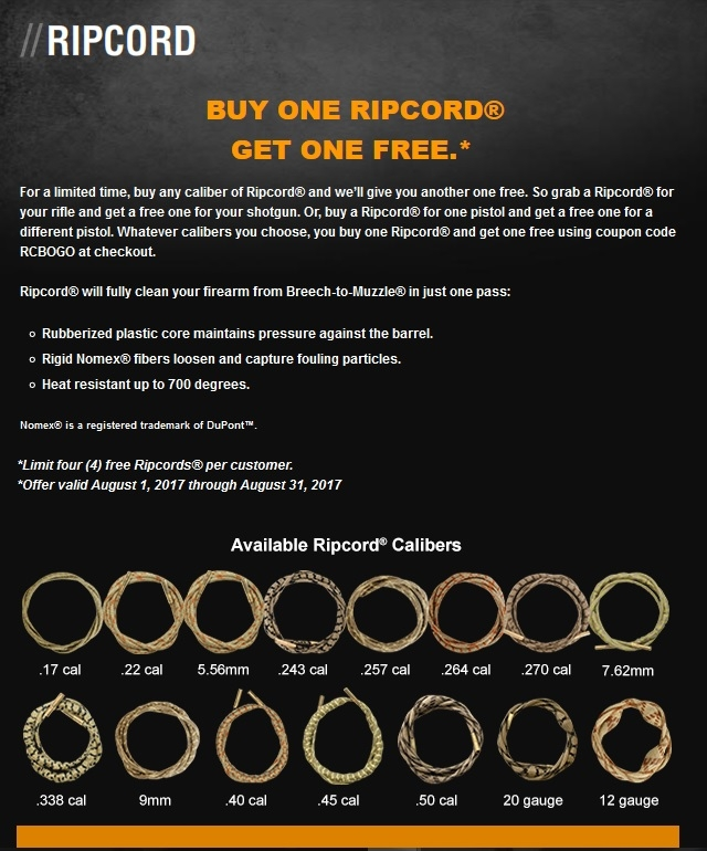 2017 marks the third consecutive year of the BOGO production for the Ripcord
