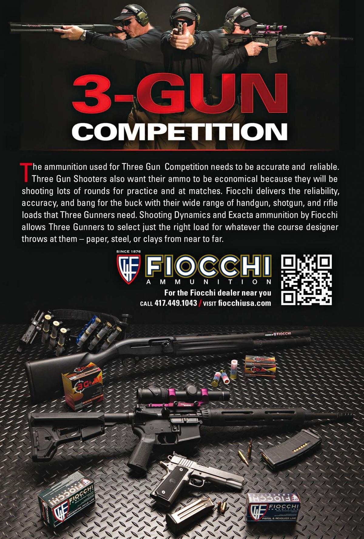 Fiocchi 3G+JM ammunition for Tri-Gun Competition shooters