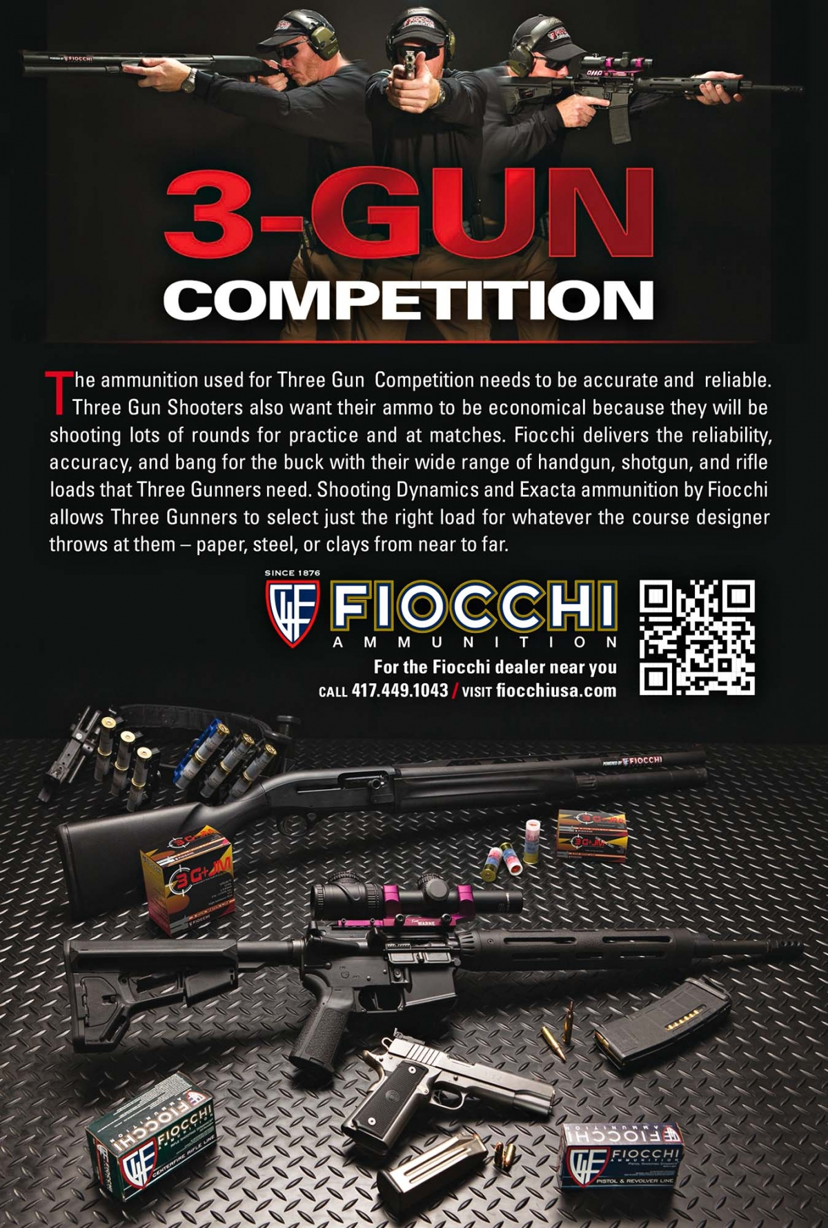 Fiocchi 3G+JM ammunition for Tri-Gun Competition shooters