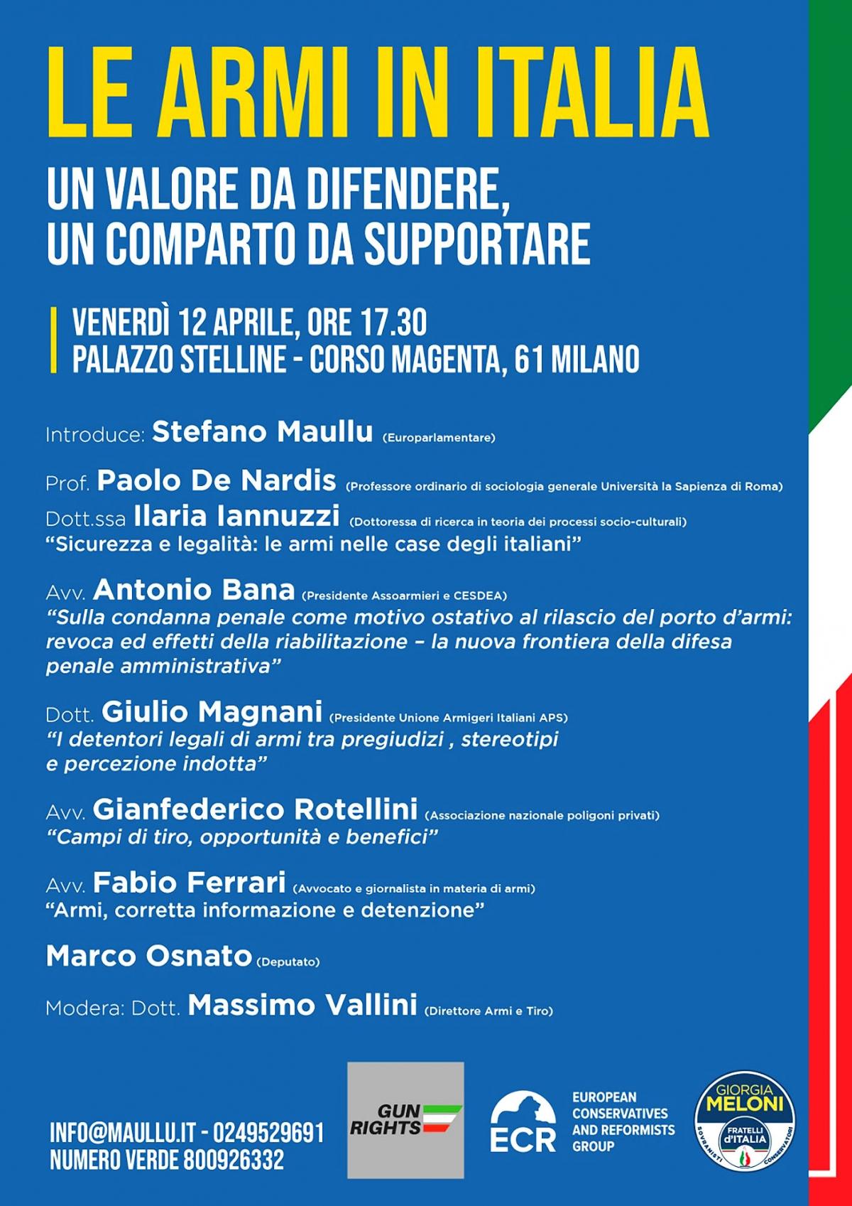 """Convegno """"le armi in Italia: un valore da difendere, un comparto da supportare"""""""