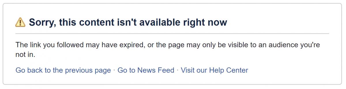 Un messaggio standard fa da epitaffio a quella che prima era una pagina dedicata al libero scambio di opinione