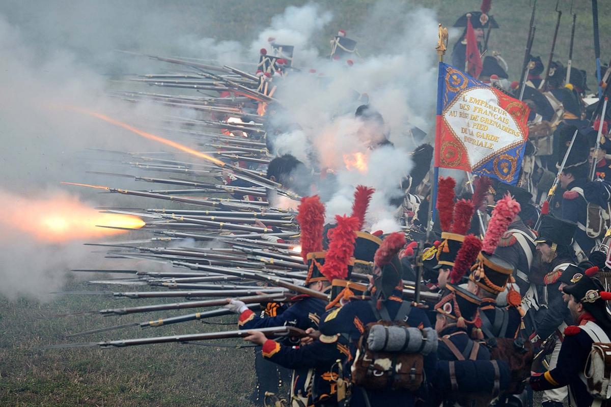 Un'immagine ripresa durante la rievocazione storica della battaglia di Waterloo del 18 giugno 1815