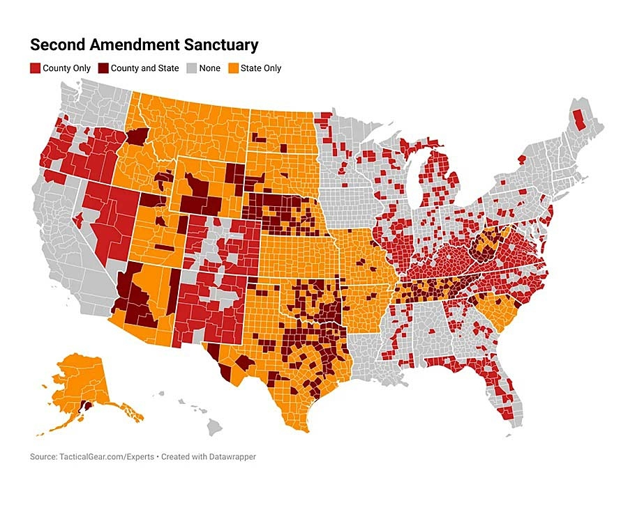 The map published by Tacticalgear.com highlights self-proclaimed Second Amendment sanctuary Counties (red), Counties in 2A sanctuary States (orange), and self-proclaimed 2A sanctuary Counties in already 2A Sanctuary States (crimson)