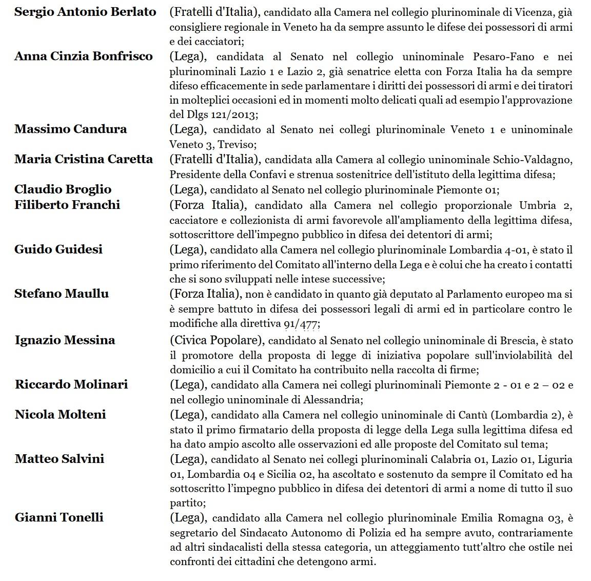 La lista dei candidati che si sono disponibili al confronto o che hanno sottoscritto l'impegno pubblico promosso dal Comitato Direttiva 477