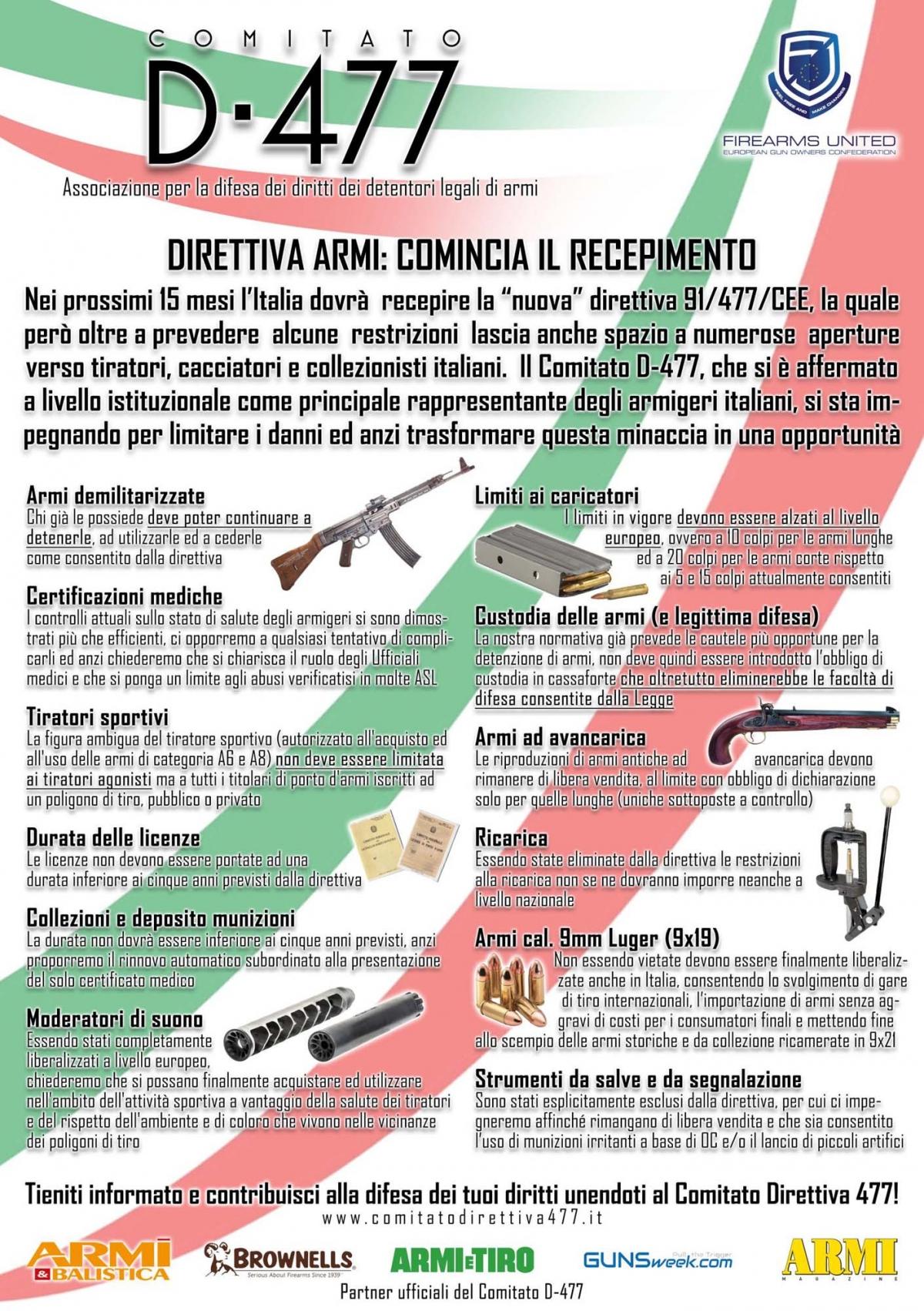 Il comparto armiero italiano unito a sostegno del Comitato Direttiva 477