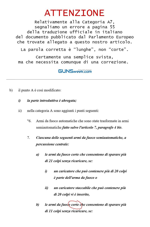 Segnaliamo errore nella traduzione italiana ufficiale del documento pubblicato dal Parlamento Europeo