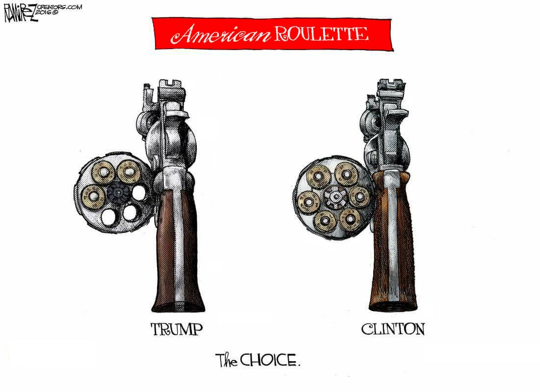 A satirical cartoon from the renowned American author Michael P. Ramirez