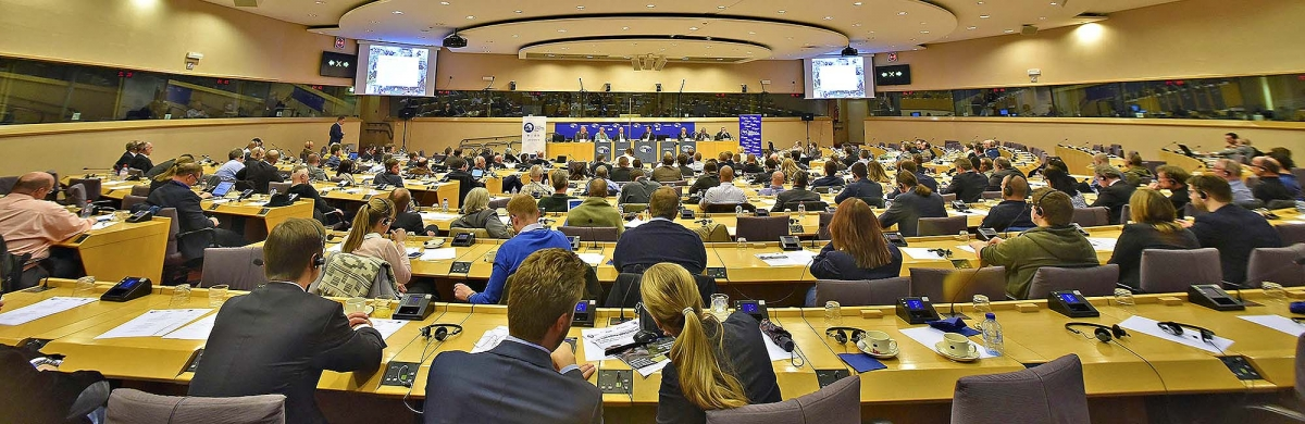 A view of the conference held at by Firearms United at the European Parliament, to discuss again on the EU Commission Directive 91/477/EEC on Firearms