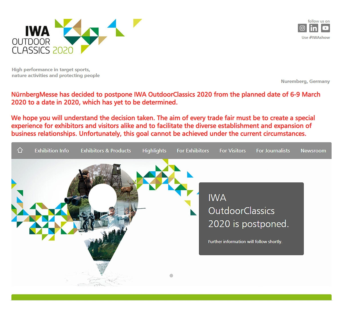 IWA 2020 cancelled, but postponed