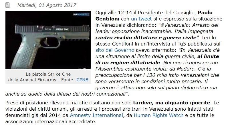 Pistole Strike One in Venezuela?