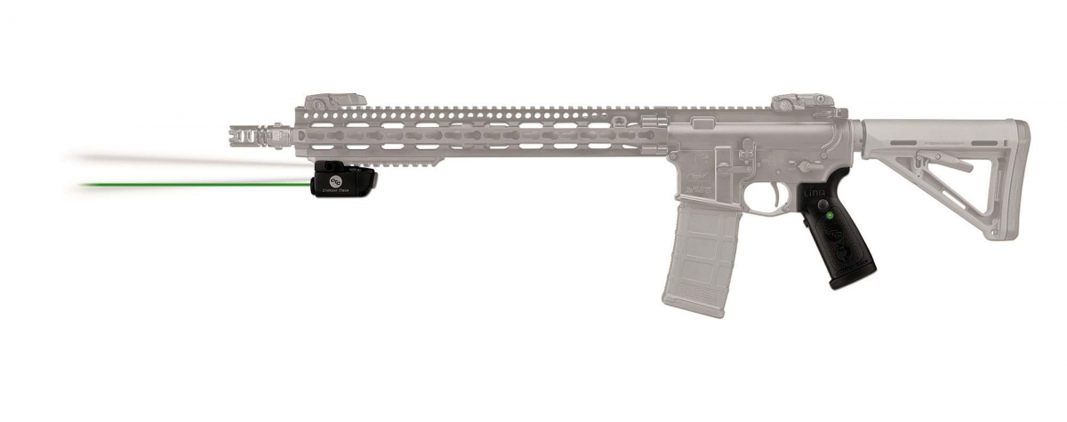 Crimson Trace is known for its history of technological breakthroughs: pictured is the new LiNQ™, the World's first wireless laser and white light system for AR-15 derivative rifles and carbines