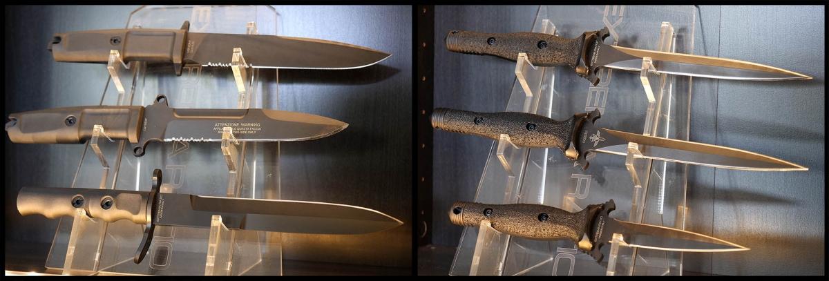 """Le dimensioni non contano: per quanto grandi, i coltelli a sinistra possono essere portati, mentre il profilo acuminato e a doppio taglio delle lame dei tre a destra, li rendono """"armi proprie"""" di cui è vietato il porto (ma non il possesso, previa denuncia)"""