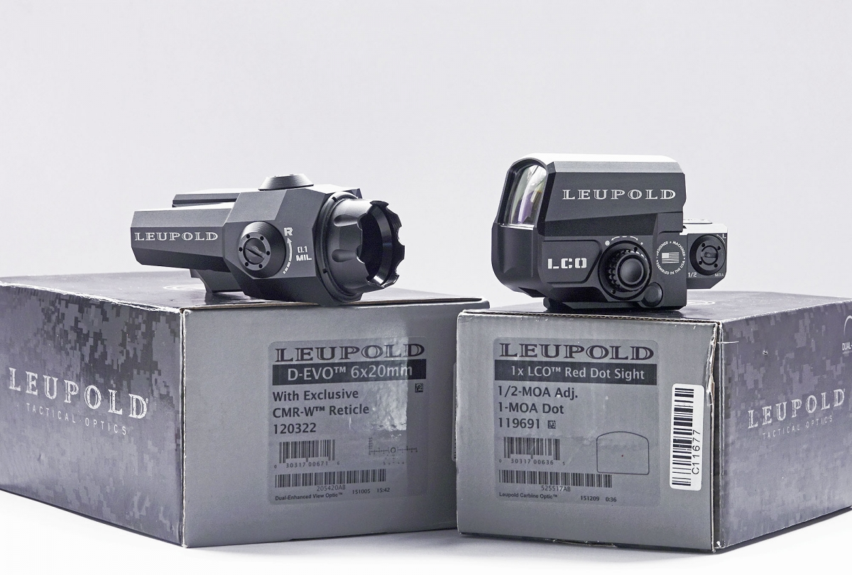 From left: the Leupold D-EVO and the Leupold LCO Red Dot sight, with their boxes