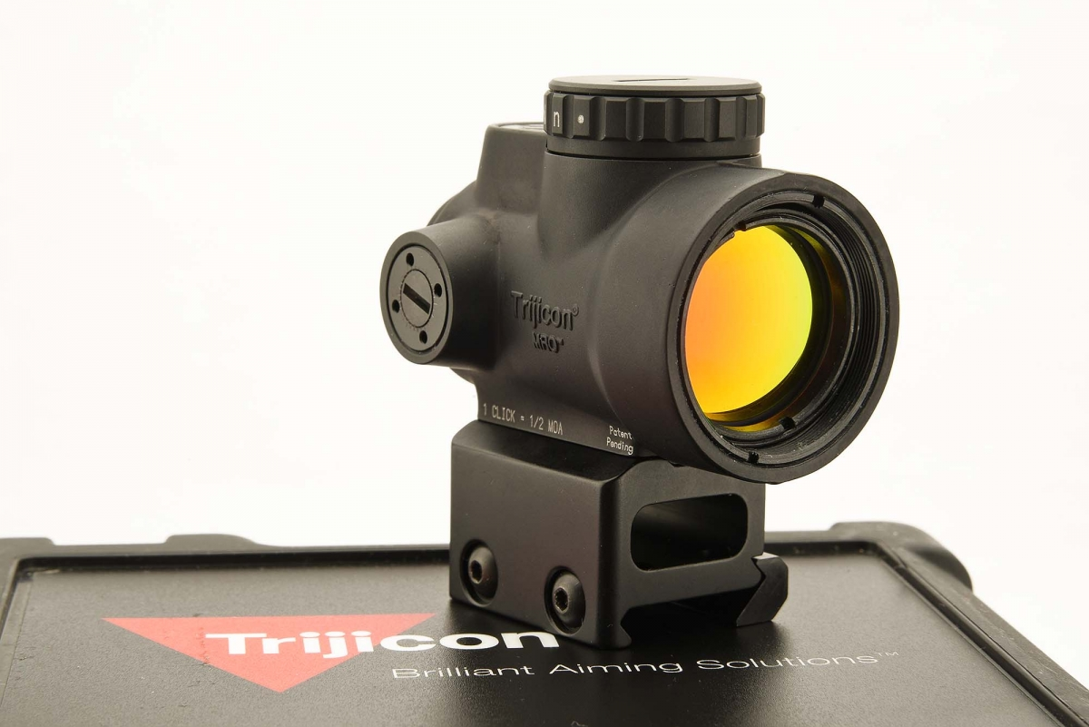The Trijicon MRO miniature rifle optic is merely 66mm long, and weighs less than 180 grams