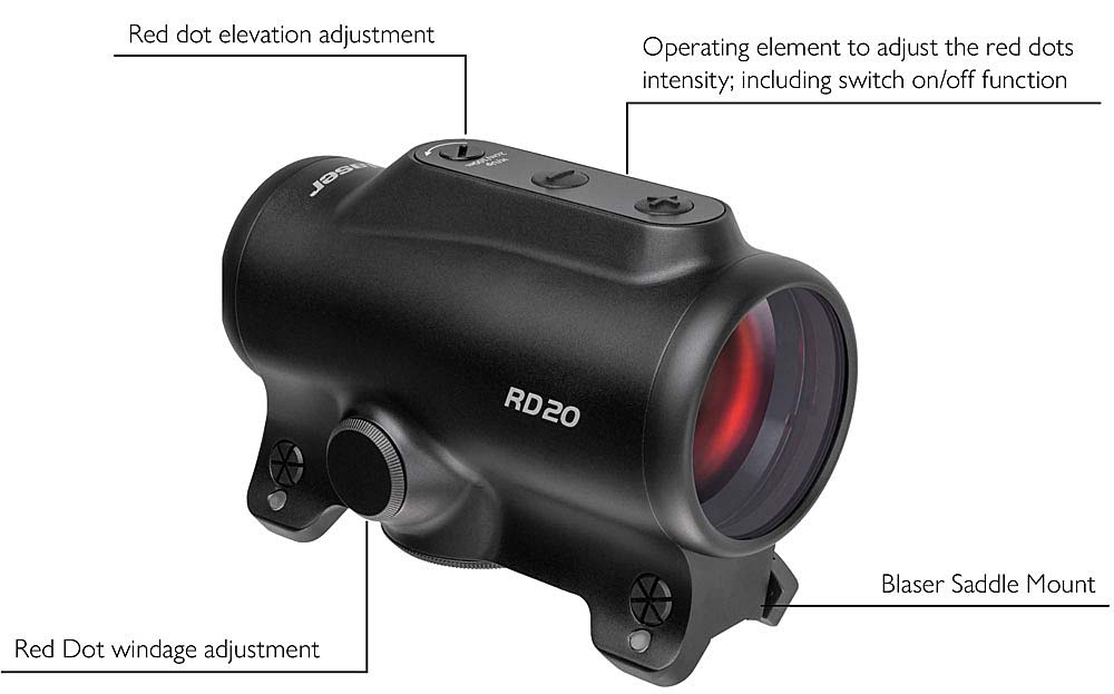 The features of the Blaser RD20 red dot sight
