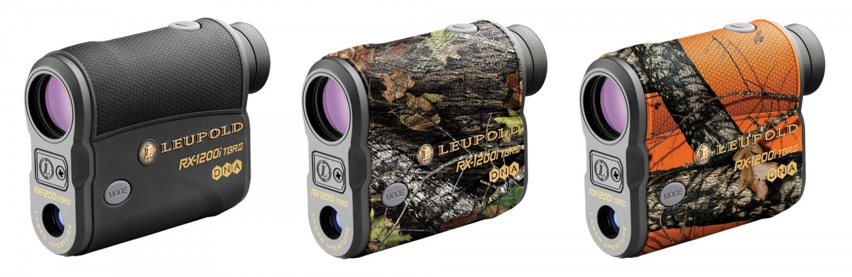 Leupold RX-1200i TBR/W Rangefinder with DNA. From left, they come in black/gray, Mossy Oak Break-Up Infinity™ and Mossy Oak Blaze Orange