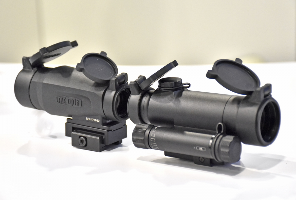 from left: the MEOPTA MeoMag magnifier and the MeoRed T Reflex Sight