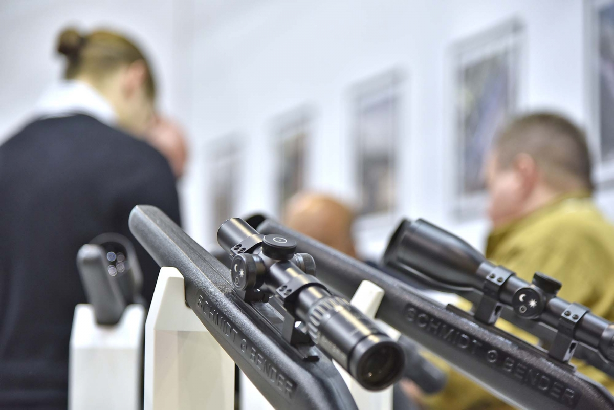 Dettaglio dello stand Schmidt & Bender allo SHOT Show