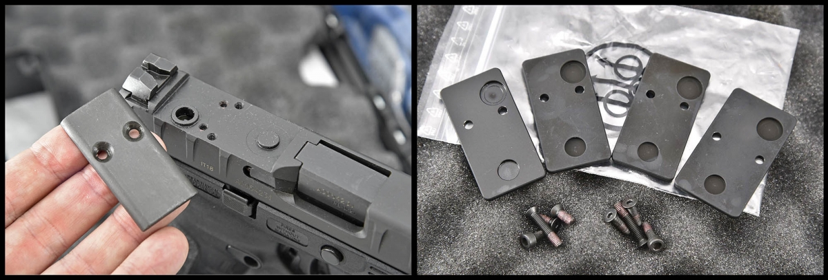 A set of interchangable plates allow the use of five different micro-reflex sights on the Beretta APX Combat pistol