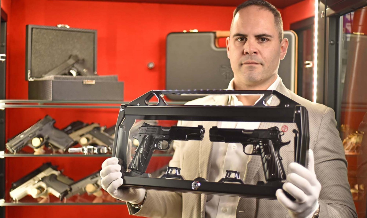 The Cabot Guns Mirror Image Pistols set on display