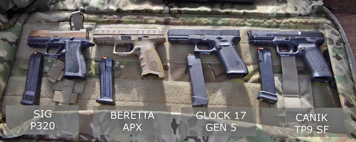 The four finalists to the Danish Army pistol trial, left to right: SIG Sauer P320, Beretta APX, Glock 17M, Canik TP9 SF