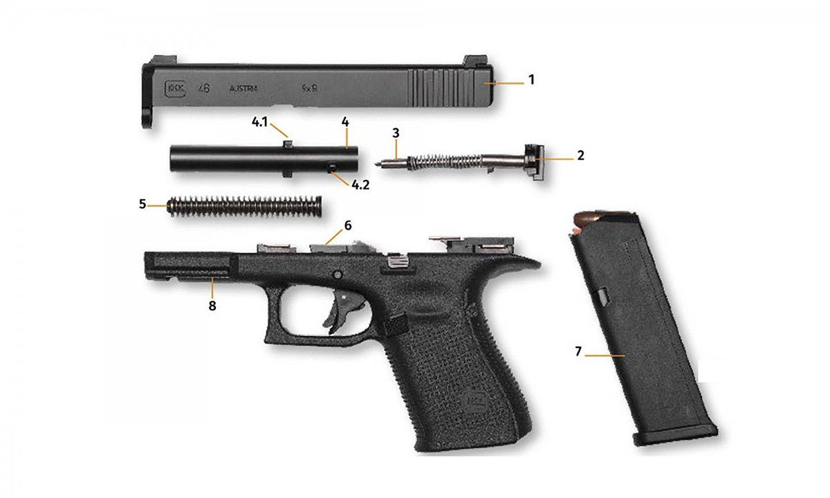 The Glock 46 pistol, field-stripped: is this the beginning of a new era for the Austrian company?