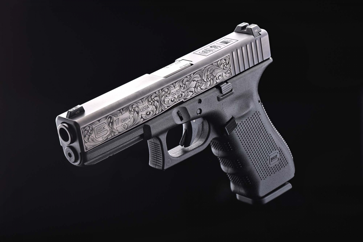 One of the thirty limited edition hand-engraved G17 Gen4 pistols realized to celebrates the 30 years of Glock in the United States