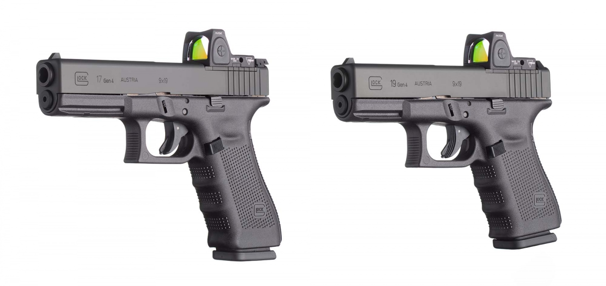 From left: the Glock G17 Gen4 and the Glock G19 Gen4, both in the new MOS configuration