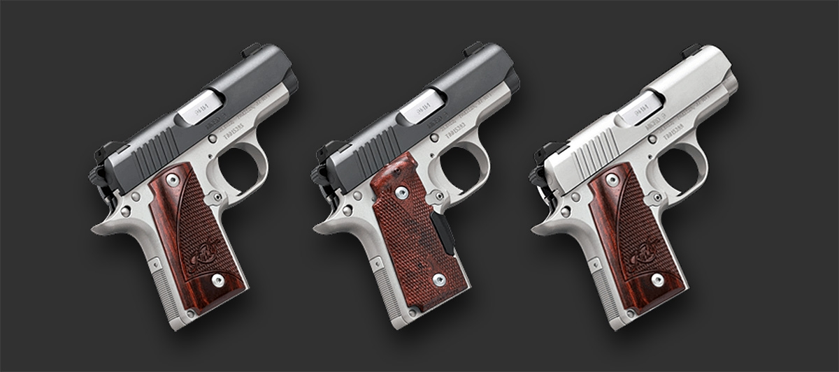 From left, the 3 version of the Kimber Micro 9 pistols: the Two Tone, the Crimsom Carry, the Stainless