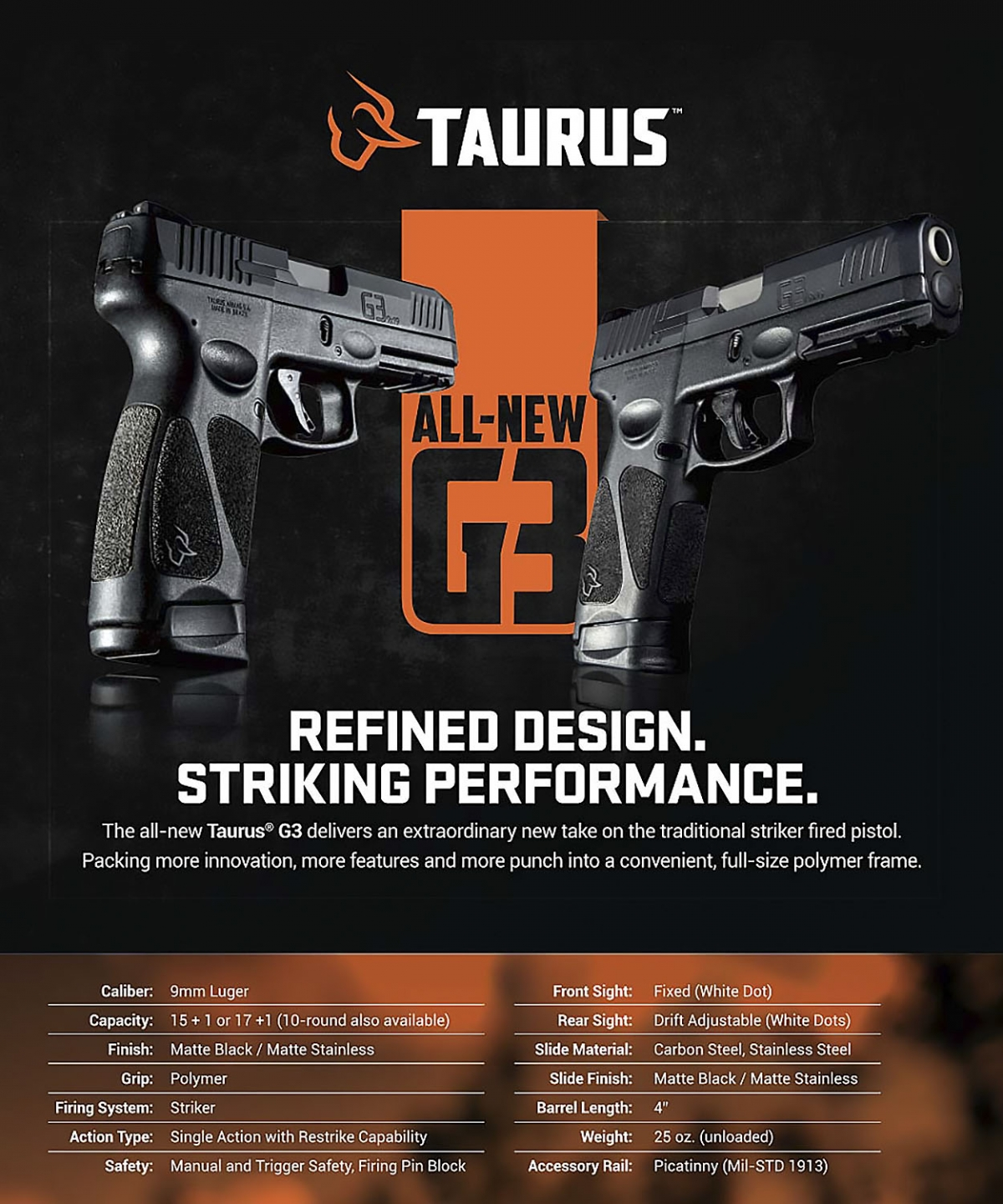 Taurus introduces the G3 9mm polymer pistol