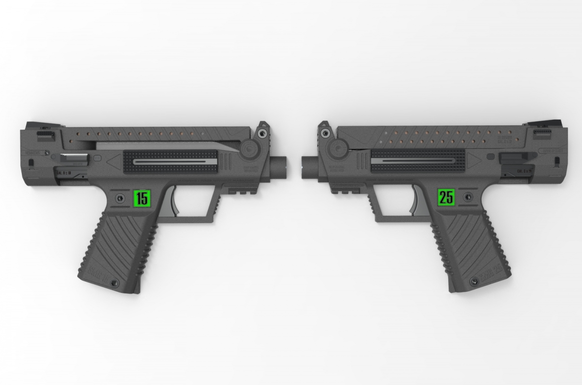 The Italian-based Tecnostudio Engineering company released the first CAD drawings of a perspective future bullpup pistol and micronized SMG for law enforcement and civilian sales