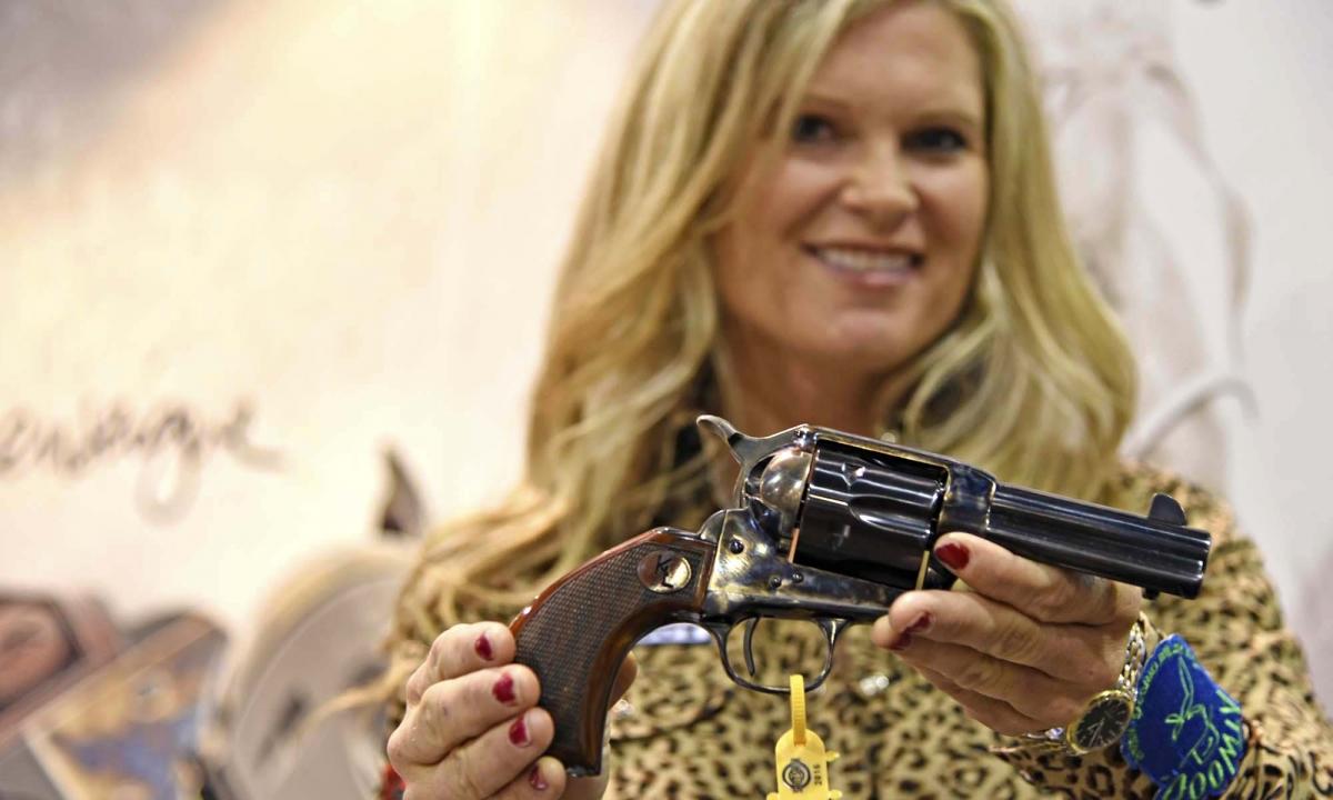 Uberti 1873 Short Stroke revolver designed for Kenda Lenseigne, with byrd-eye grips and short stroke hammer action