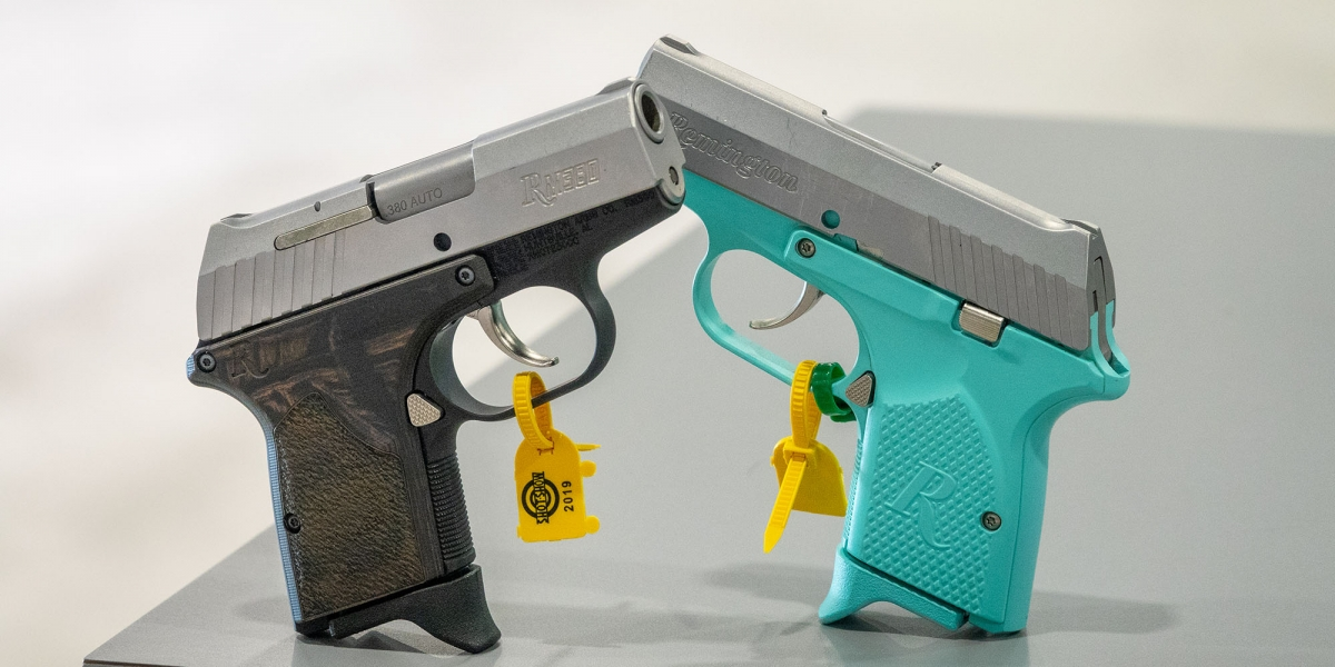 The Remington RM380 Executive and the Micro Light Blue pocket pistols