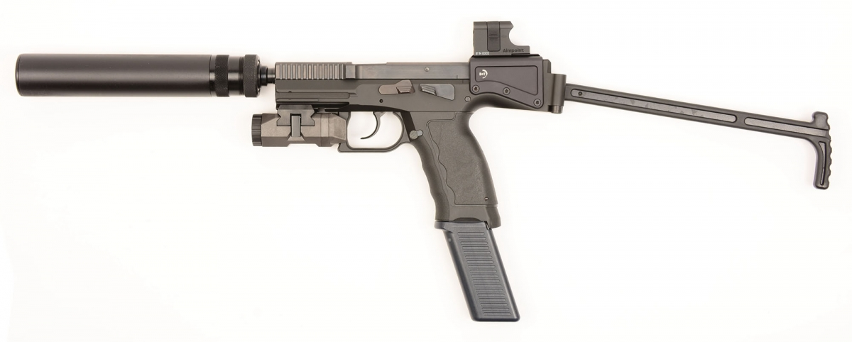 The B&T USW is semi-automatic only, hammer-fired: a striker fired version will be available in the near future. The B&T USW can accept a plethora of accessories, including high-capacity magazines and suppressors