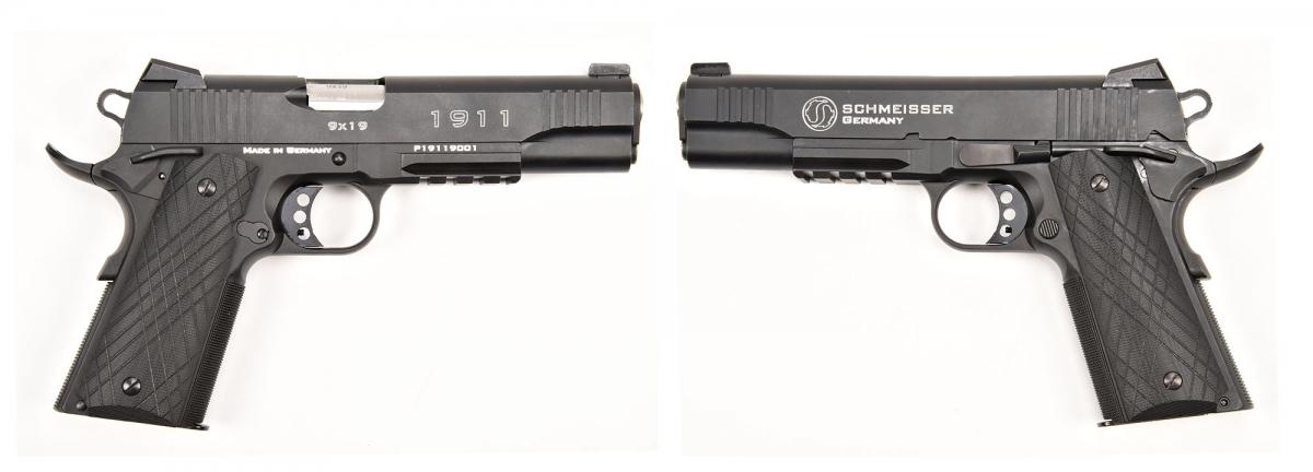 Side views of the Schmeisser 1911 Pistol in 9mm caliber