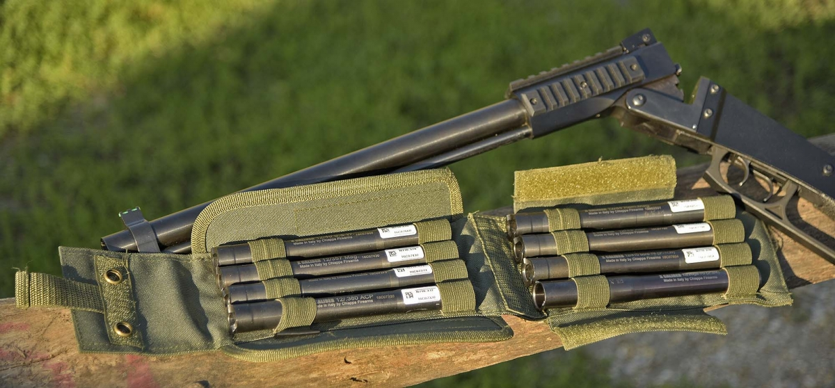 The X-Caliber system is made of 8 rifled barrels adapters which, inserted in the chamber of the 12 gauge barrel of the Chiappa M6, allow the use of 10 different calibers