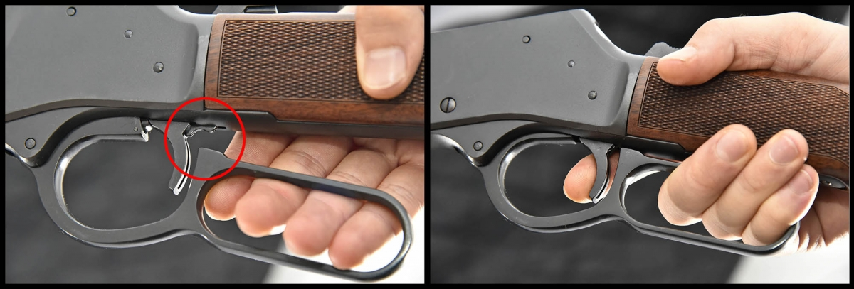 Behind the trigger, a disconnector prevents the trigger release unless the loadiong lever is fully pulled up in shooting position