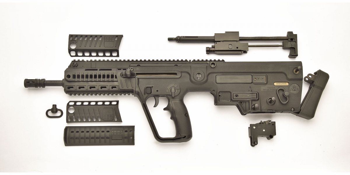 The IWI X95 semi-automatic rifle, field-stripped: this is as far as the user should go for ordinary cleaning and maintenance