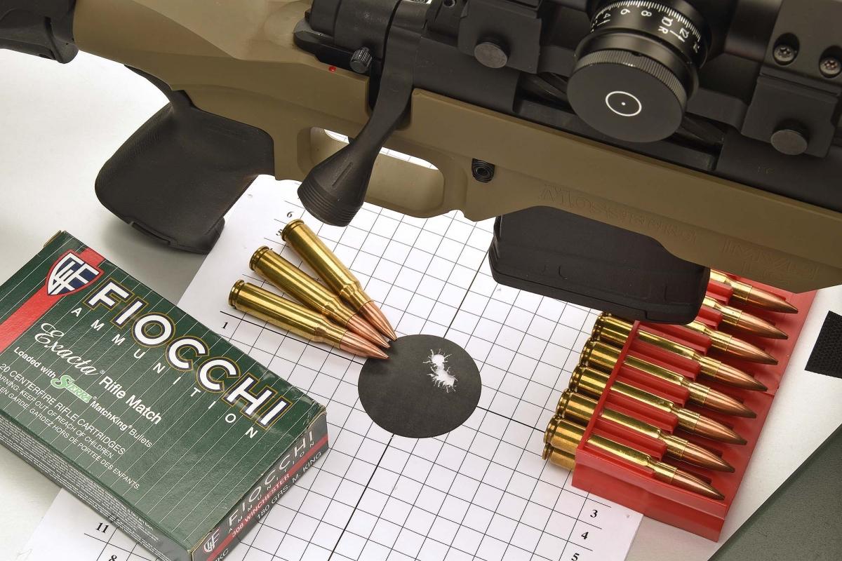 Rosata di 3 colpi ottenuta a 100 metri, con arma su rest, con munizioni Fiocchi Exacta Rifle Match da 180 grani