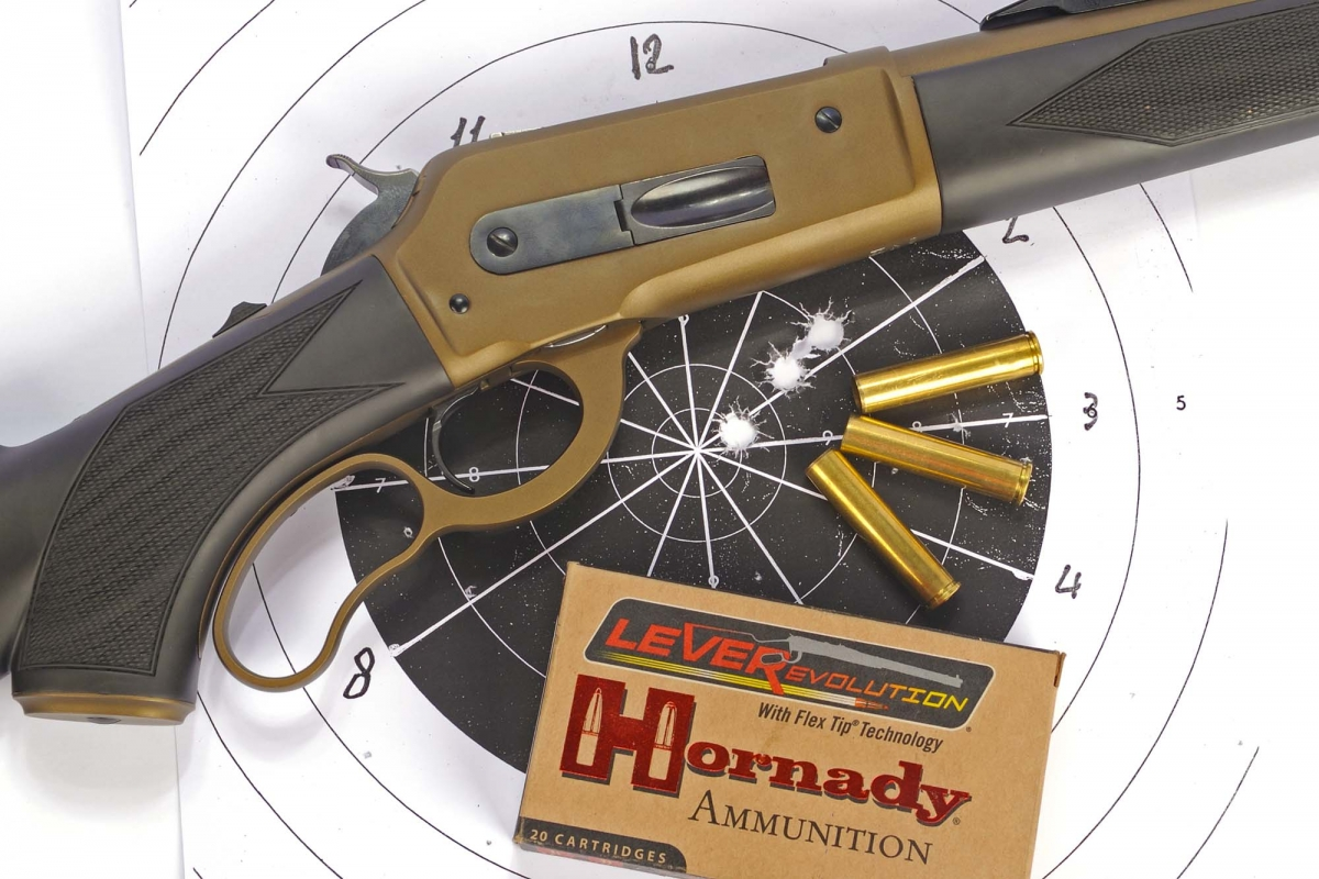 A 3 shots group obtained at 50 meters with the Hornady Lever Evolution .444 Marlin 265gr FTX ammunition: the diameter is less than 2 inches