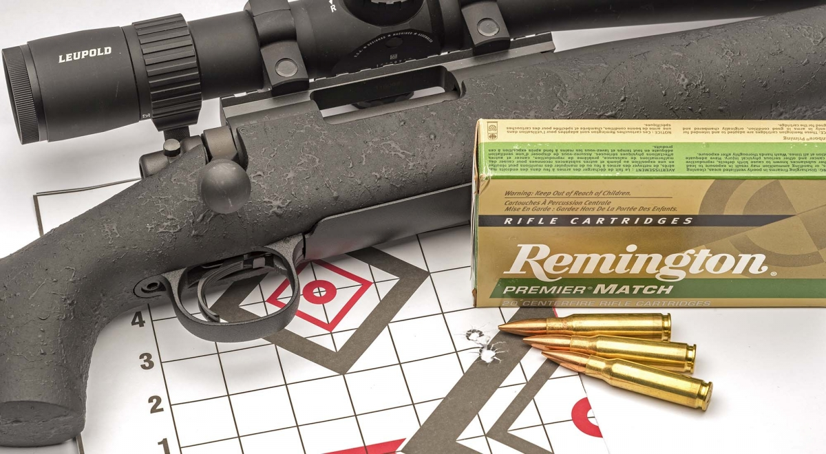 Rosata sub MOA (24 mm) di 3 colpi a 100 metri, con munizioni Remington Premier Match da 168 grani