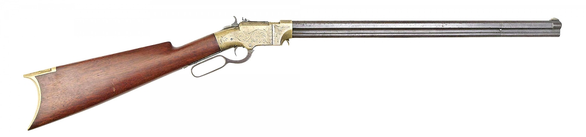 A beautiful original Volcanic repeater, the rifle developed for the Rocket Ball caseless ammunition designed by Walther Hunt