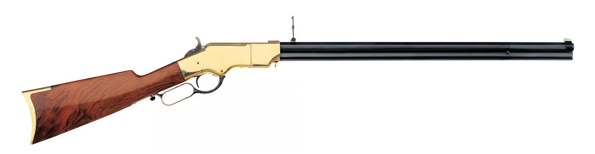 A clear derivation of the Volcanic repeater, but far more effective, the Henry Rifle represents a revolution in firearms history (here a Uberti replica)