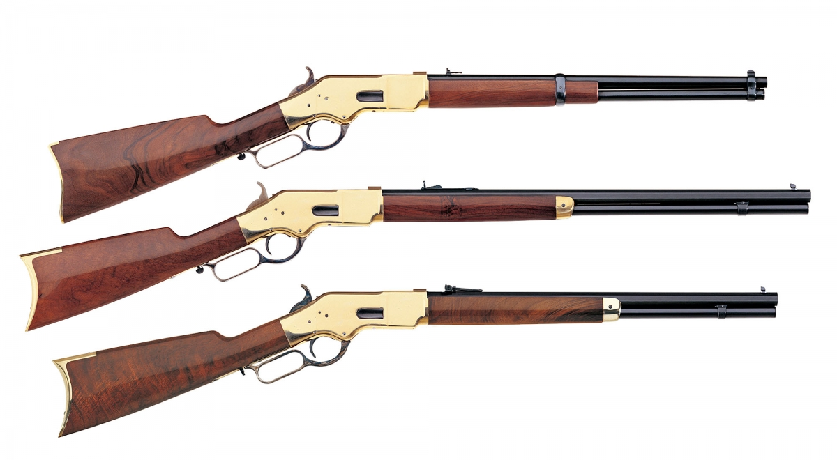In 1866, the Yellowboy hit the mind of everyone worldwide, as one of the most sought after innovations ever. From top, three basic Winchester 1866 Yellowboy models from the Italian manufacturer Uberti: