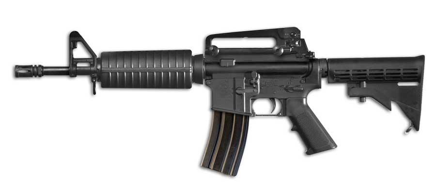 The Colt M4 Commando semi-automatic carbine in its 12-inch barrel variant
