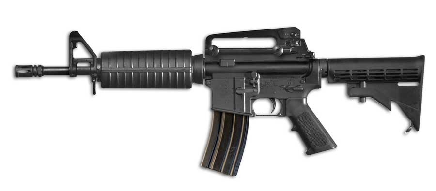 The Colt M4 Commando semi-automatic carbine in its 12-inch barrel variant
