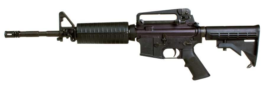 The Colt M4 Commando semi-automatic carbine in its 14,5-inch barrel variant